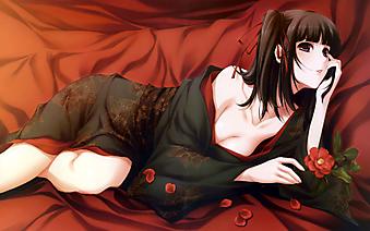 Девушка в кимоно с цветком шиповника. (Код изображения: 23040)
