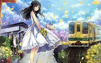 Девушка с букетом ждет поезд. (Код изображения: 23046)