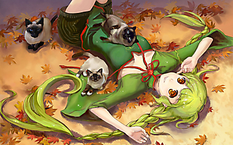 Девочка в зеленом платье с кошками. (Код изображения: 23050)