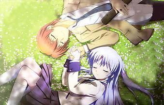Влюбленная пара держится за руки. (Код изображения: 23077)