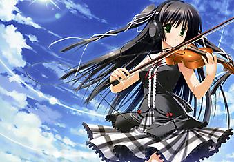Девушка в наушниках играет на виолончели (Код изображения: 23124)