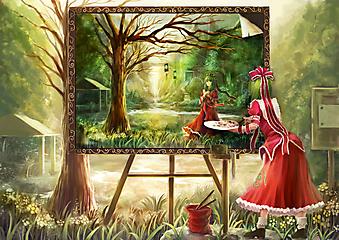 Девушка рисует картину (Код изображения: 23154)