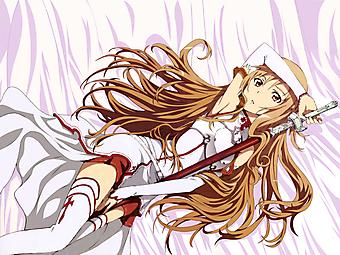 Анимэ девушка в белом платье с мечом. (Код изображения: 23199)