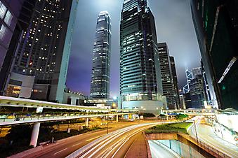 Гонконг ночью. (Код изображения: 02034)