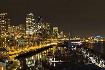 Панорама ночного Сиэтла, США.  (Код изображения: 02038)