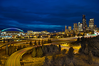 Панорама ночного Сиэтла, США. (Код изображения: 02039)