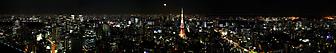 Широкоформатная панорама ночного Токио. (Код изображения: 02091)