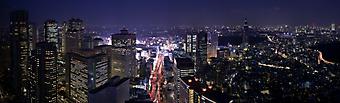 Ночной город, современный район Синдзюку в Токио, Япония. (Код изображения: 02097)