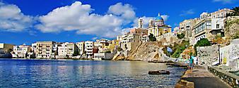 Причал эгейского моря, Греция- Города. (Код изображения: 02102)