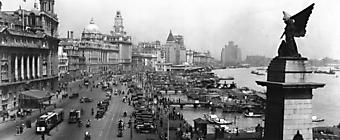 Черно белая панорама старого Шанхая. (Код изображения: 02105)