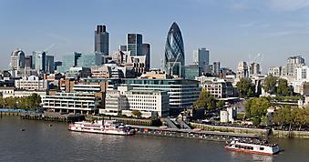 Панорама района Сити в Лондоне. (Код изображения: 02116)