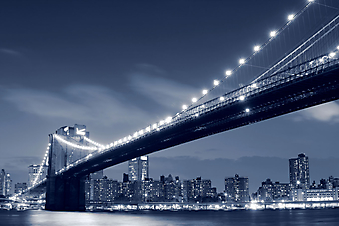 Бруклинский мост (Brooklyn bridge) в Нью-Йорке. (Код изображения: 02186)