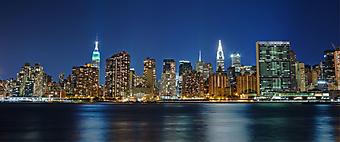 Ночной Нью-Йорк. Вид с Лонг Айленда. (Код изображения: 02254)