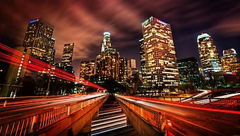 Ночь в Лос-Анджелесе. (Код изображения: 02266)