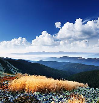 Красивый горный пейзаж. (Код изображения: 03050)