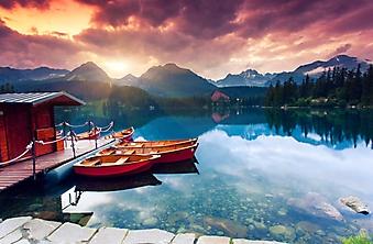 Лодки на горном озере в Татрах, Словакия (Каталог номер: 03064)