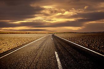 Дорога и золотое небо. (Код изображения: 06009)