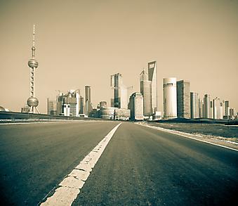 Дорога в городе. (Код изображения: 06014)