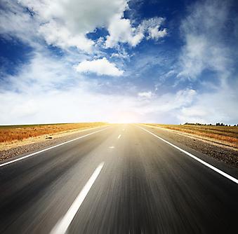 Дорога и голубое небо. (Код изображения: 06019)