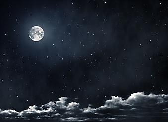 Полная луна и звезды. (Код изображения: 12049)