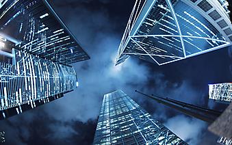 Ночной вид на небоскребы Гонконга (Каталог номер: 12090)