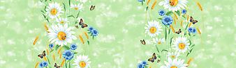 Рисунок из цветов, колосьев и бабочек. (Код изображения: 09179)