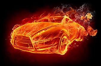 Авто в огне. (Код изображения: 13009)