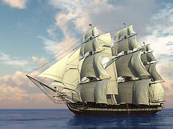 Корабль с парусами. (Код изображения: 13051)