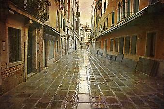Дождь в Венеции. (Код изображения: 14008)