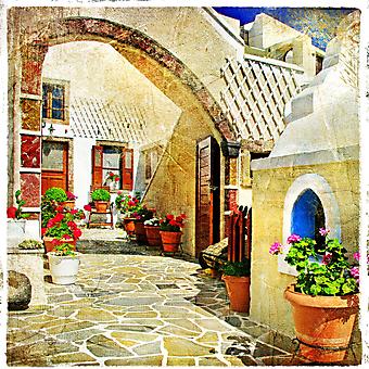 Живописные дворики Санторини. (Код изображения: 14019)