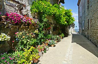 Цветочная улочка во Франции (Код изображения: 14048)