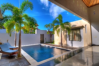Дворик с бассейном и пальмами (Код изображения: 14052)