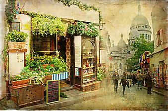 Улицы Монмартра. Париж. (Код изображения: 14062)
