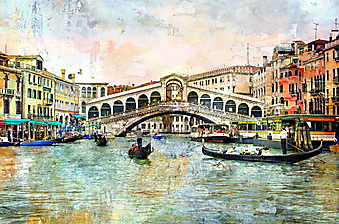Мост Риалто. Венецианская картина. (Код изображения: 14074)