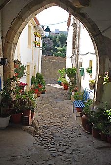 Яркий дворик в старой деревушке. Португалия. (Код изображения: 14075)