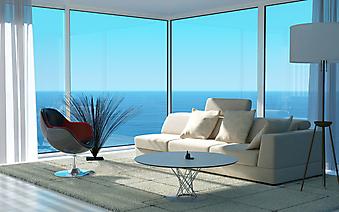 Вид на море из гостиной. (Код изображения: 15022)