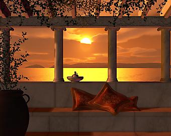 Золотой закат на террасе в восточном стиле. (Код изображения: 15023)