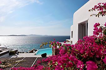 Цветущая веранда с бассейном и видом на море. (Код изображения: 15029)