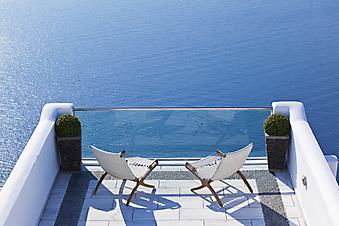 Вид с балкона на Эгейское море. Санторини. Греция. (Код изображения: 15030)