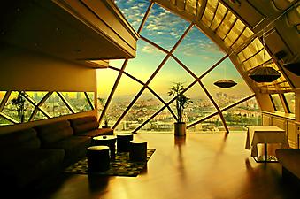 Вид на город из дизайнерской террасы (Код изображения: 15039)