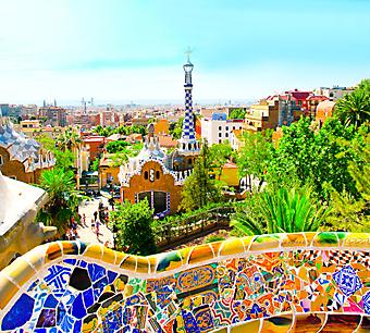 Вид на Барселону с террасы парка Гуэль. (Код изображения: 15041)
