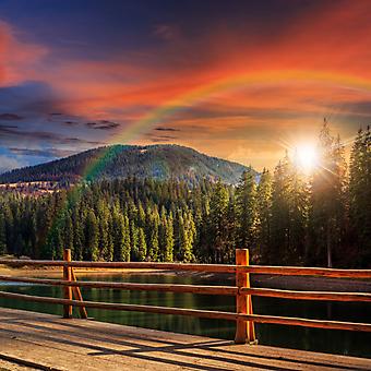 Терраса с видом на горы и лес перед закатом (Каталог номер: 15100)