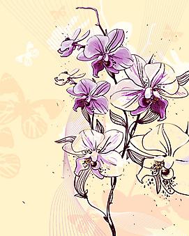 Веточка цветущей орхидеи. (Код изображения: 22039)