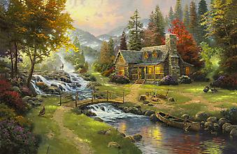Томас Кинкейд (Tomas Kinkade) - Горный Рай (Mountain Paradise). (Код изображения: 24001)