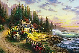Томас Кинкейд (Tomas Kinkade) - Сосновый коттедж в бухте (Pine Cove Cottage). (Код изображения: 24008)