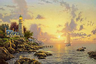 Томас Кинкейд (Tomas Kinkade) - Море спокойствия (The Sea Of Tranquility). (Код изображения: 24010)