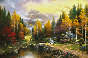 Томас Кинкейд (Tomas Kinkade) - Долина покоя (The Valley Of Peace). (Код изображения: 24011)