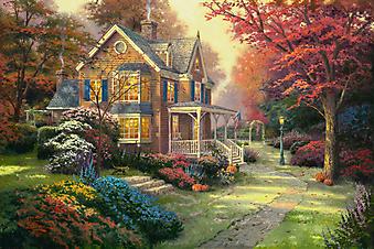 Томас Кинкейд (Tomas Kinkade) - Викторианская осень (Victorian Autumn). (Код изображения: 24013)