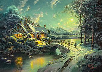 Томас Кинкейд (Tomas Kinkade) - Лунный рождественский свет (Christmas Moonlight). (Код изображения: 24015)