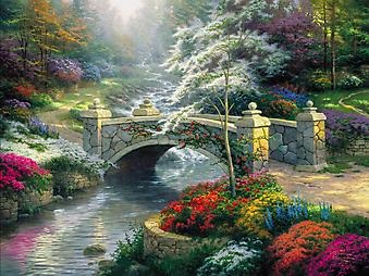 Томас Кинкейд (Tomas Kinkade) - Мост надежды (Bridge of Hope). (Код изображения: 24016)